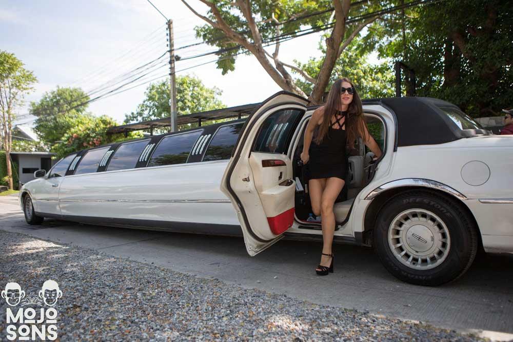 white stretch limousine bangkok party model