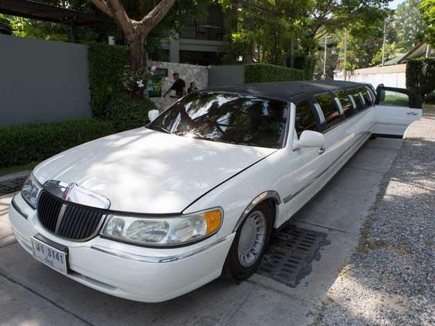 white limousine in bangkok