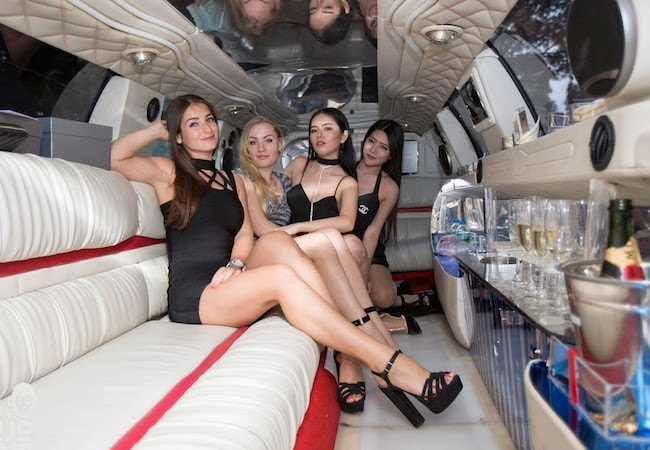 girls party limousine champagne