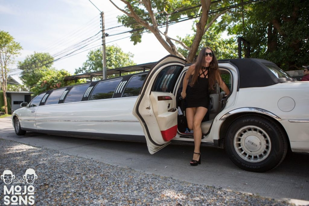white stretch limousine model